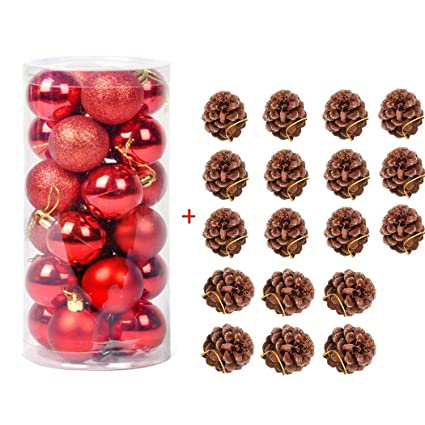 faylapa shatterproof christmas ball ornaments christmas tree decorations pendants natural pine cones ornaments for xmas