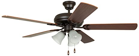 Litex E DCF52FBZ5C3 Decorators Choice 52 Inch Ceiling Fan With Five Reversible Dark Oak