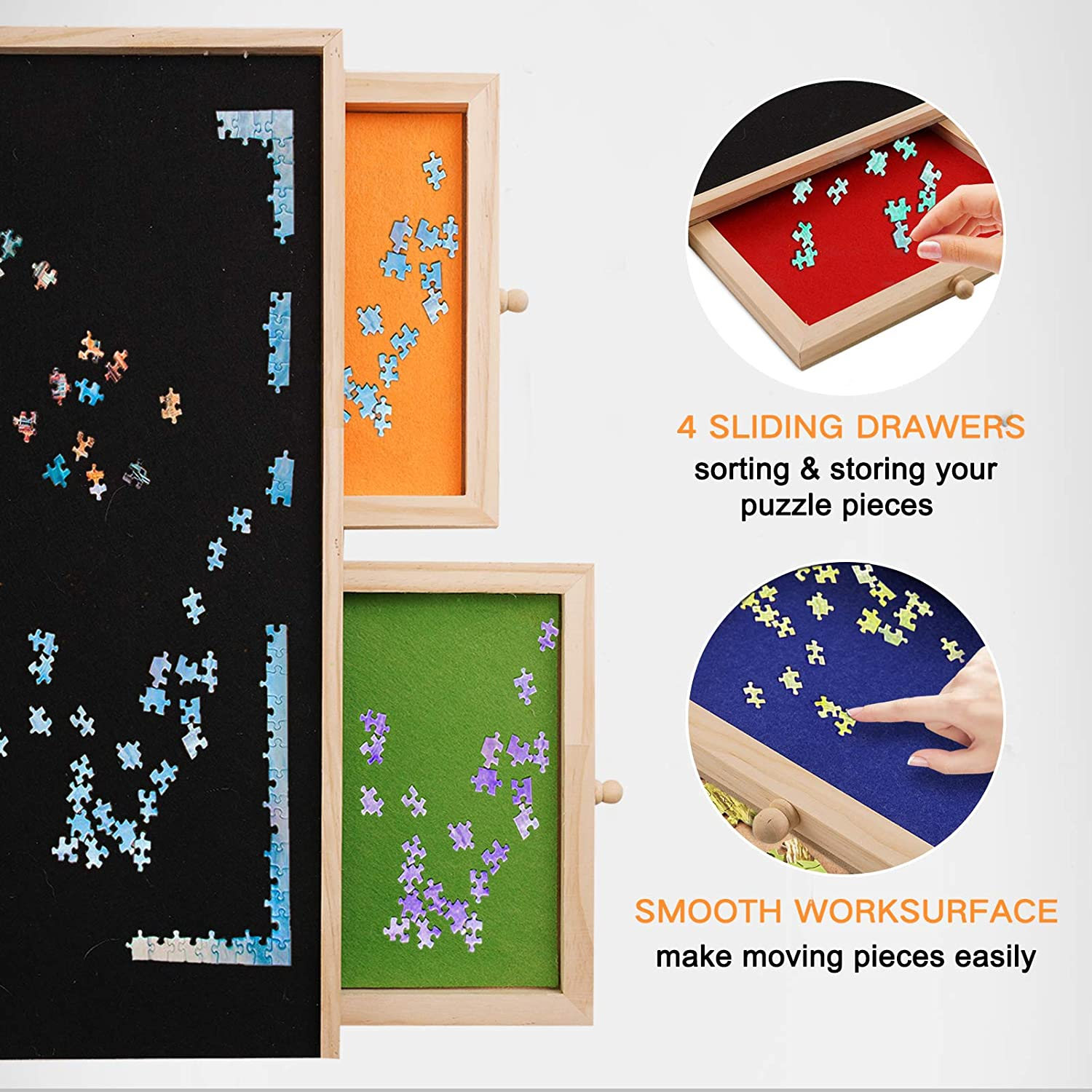 Wooden Puzzle Board for 1000 Piece Puzzles Puzzle Table with 4 Sliding Drawer Felt Jigsaw Puzzle Storage
