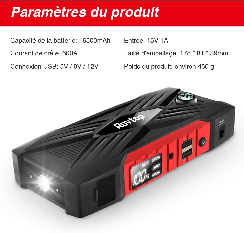QC3.0 Rovtop Booster Akku bis zu 7,5 l, Benzin, 6,0 l, Diesel 600 A LED-Lampe elektrische Notstromversorgung f/ür Auto Starthilfeger/ät f/ürs Auto 16500 mAh tragbar Zwei USB-Port