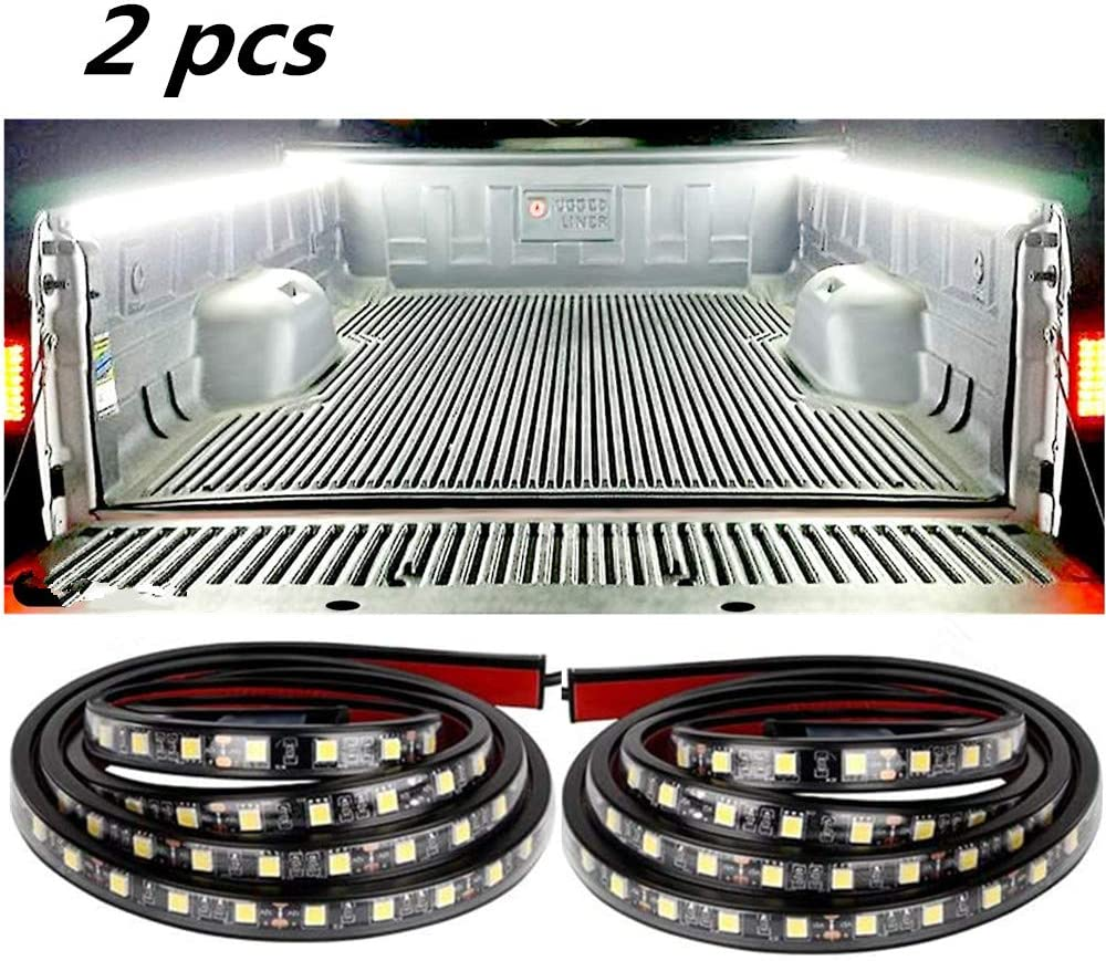 Boat Pickup Truck L.K.Y Truck Bed Lights Strip 2PCS 60 Cargo Bed Strip Lamp White Led Truck Bed Lighting with Waterproof ON//Off Switch Fuse 2-Way Splitter Cable for Cargo