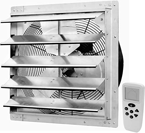 iLiving 18 Inch Smart Remote Shutter Exhaust Fan with Thermostat, Humidistat, Variable Speed, Timer, Wall Mounted, 18