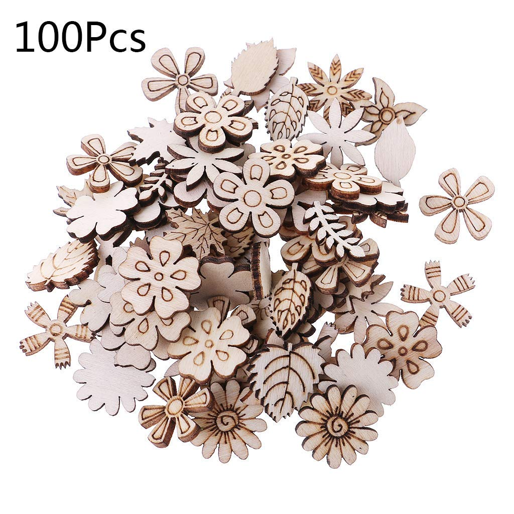 Yevison 100pcs Wood Flowers and Leaves Embellishment Wooden Shape Craft Wedding Decor Durable and Useful