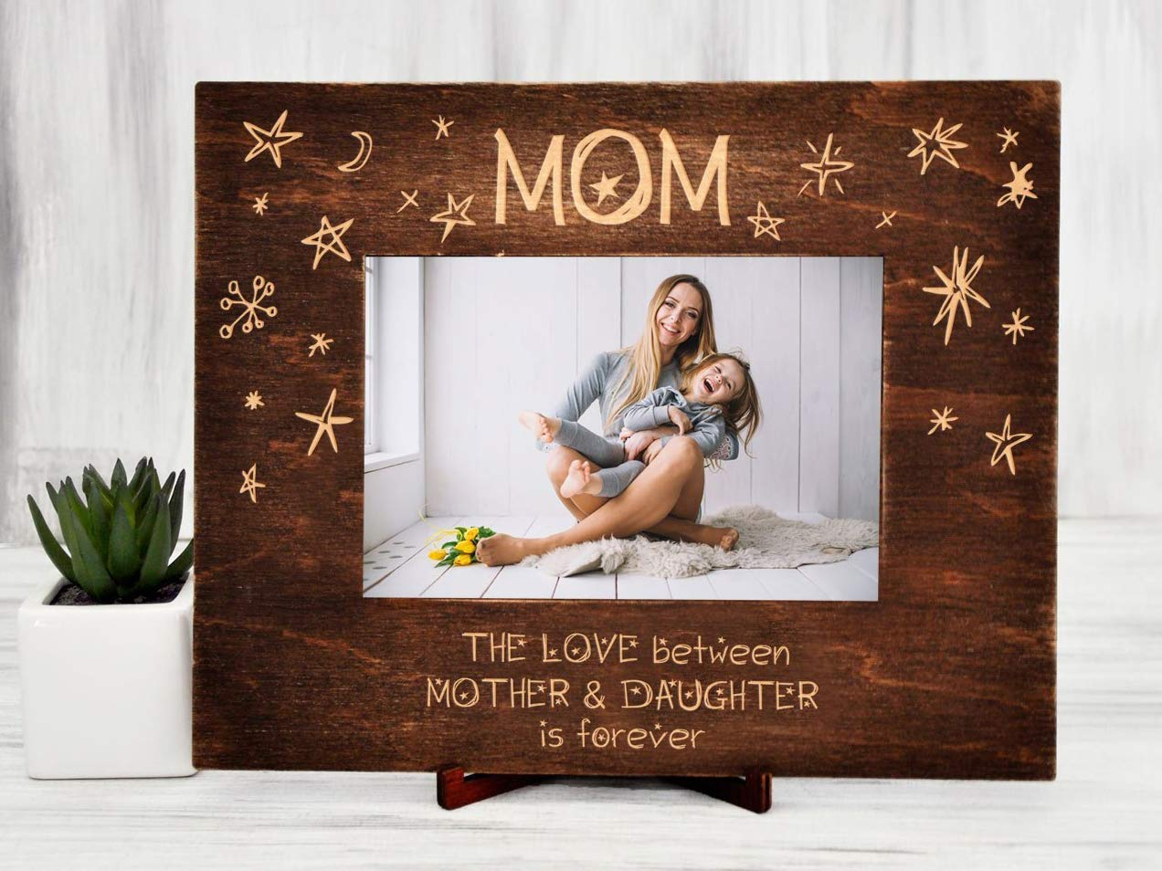 Personalized 4x6 photo picture frame Daughter From Mom Happy Birthday Gift Heart