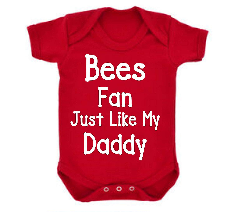 Bees Brentford Barnet Just Like Daddy Football Fan Baby Grow Vest Boy Girl Gift Romper Newborn Shower
