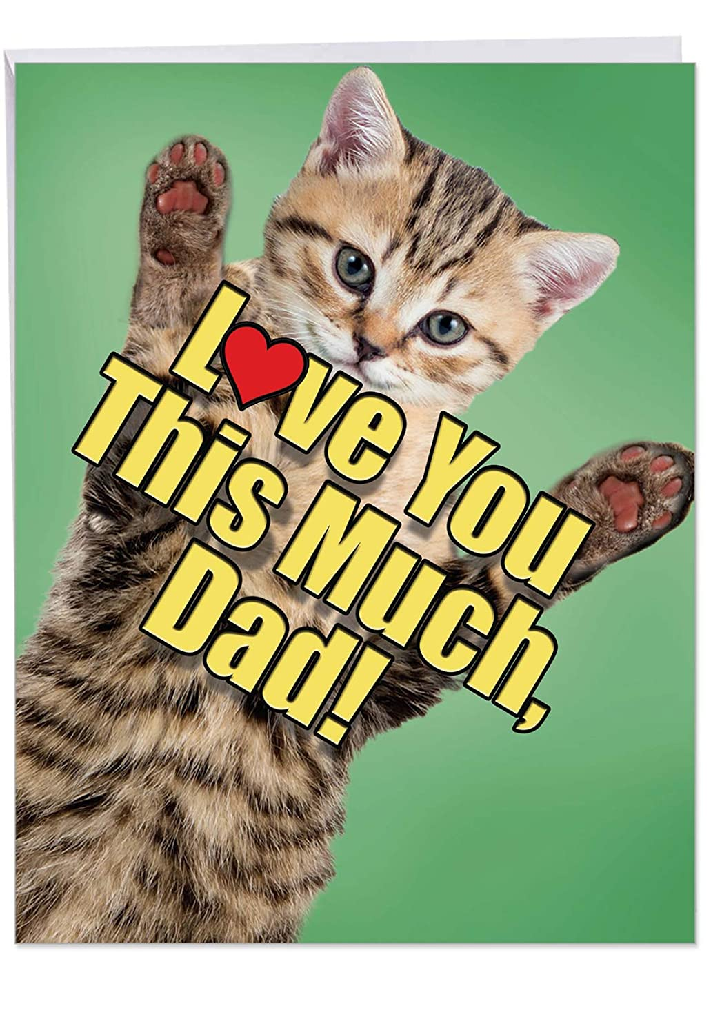 Cat Love You This Much Father Big Happy Birthday Card For Dad With Envelope 8 5 X 11 Inch Adorable Kitten Animal Bday Celebration Card For