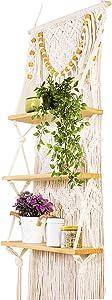Macrame Wall Hanging Shelf- Upgraded 3 Tier Handmade Rope Shelves with Wood Beads. Decorative Floating Boho Shelf-Plant Shelving Display Rack to Organize and Decor for Living Room, Bedroom, Bathroom