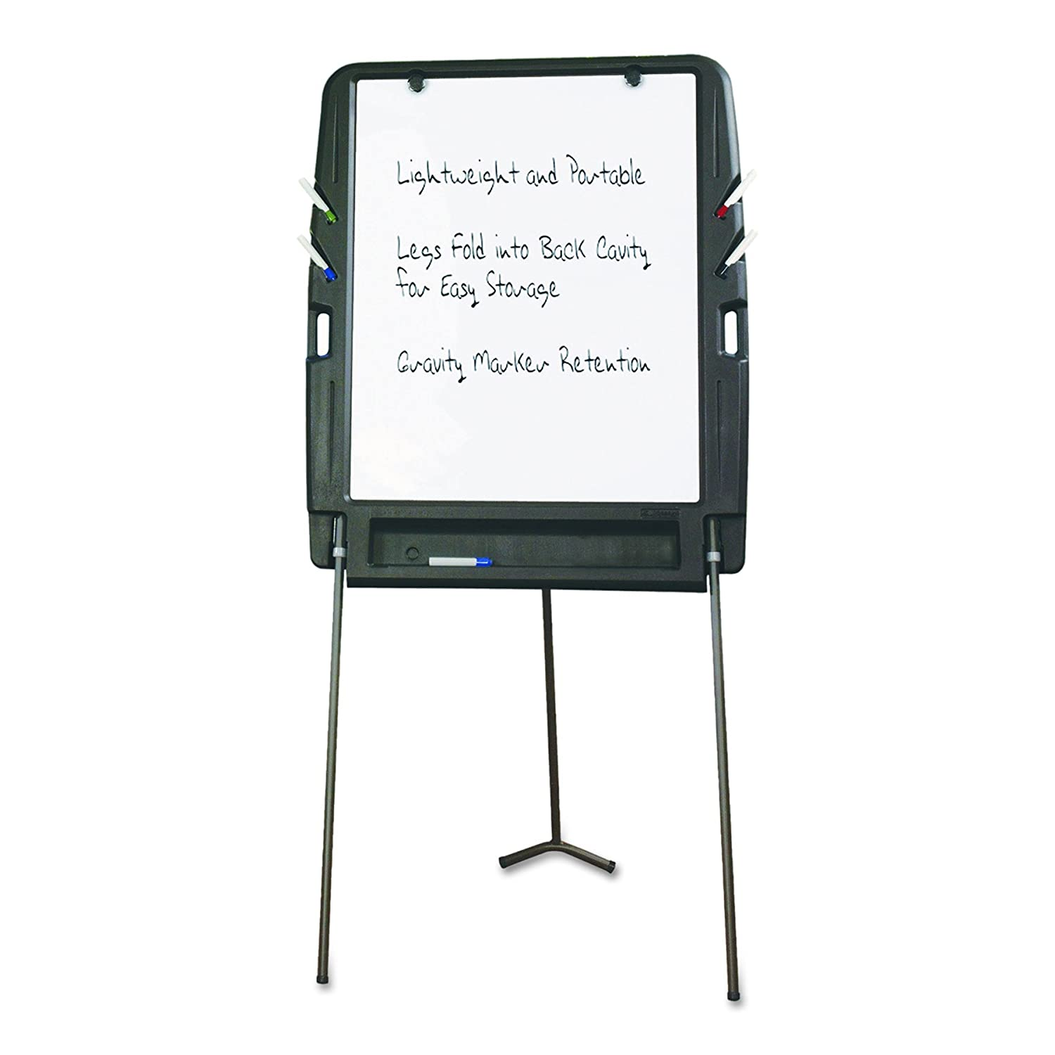 Iceberg ICE30227 Portable Flipchart Easel with Dry Erase Whiteboard Surface 35 Length x 30 Width x 73 Height Blow-molded Plastic Frame Charcoal