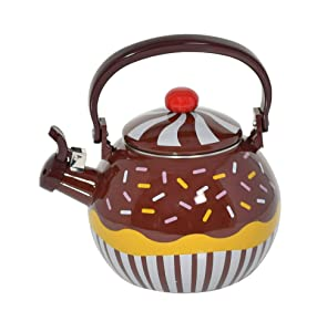 HOME-X Chocolate Cupcake Whistling Tea Kettle, Cute Teapot, Kitchen Accessories
