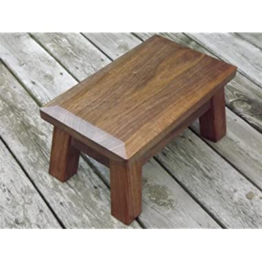 solid walnut wood step stool foot stool beveled edge riser 10  high