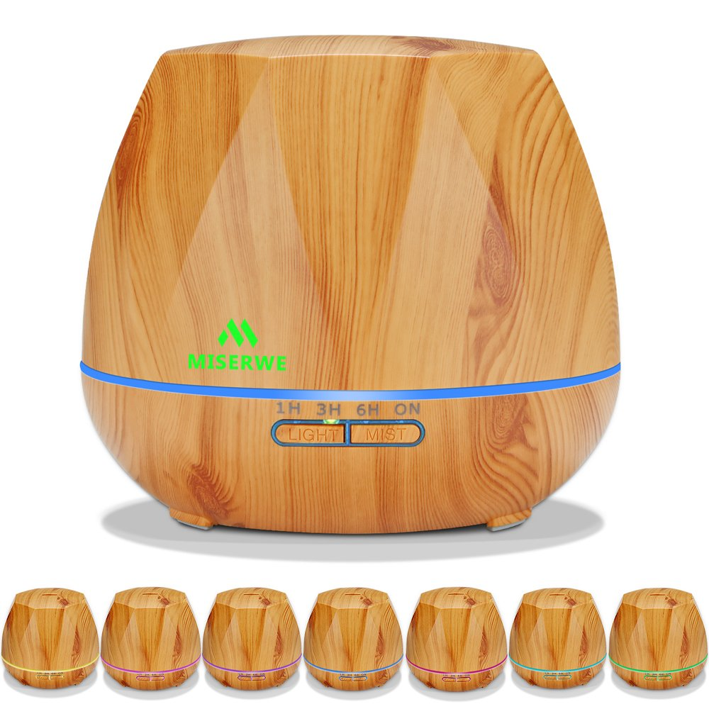 Miserwe 550 Ml Ultrasonic Humidifier Essential Oil Diffuser Portable Aromatherapy Diffuser Cool Mist Humidifiers With 7 Led Lights, Waterless Auto Shut Off Air Purifiers For Office Bedroom Baby Room Yoga Pet Room Spa by Amazon
