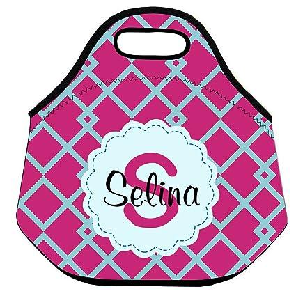 Amazon.com: Bolso de almuerzo con nombre geométrico rosa ...