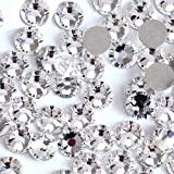Onwon 1440 Pieces SS16 / 4mm Clear Crystal Flat Back Brilliant Round Rhinestones Glass Stones Glitter Gems Transparent Faux D