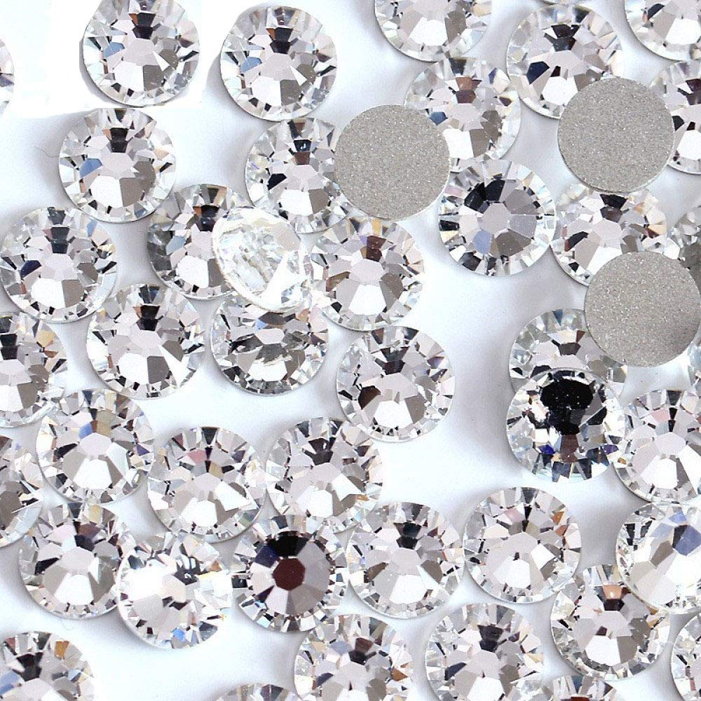 Onwon 1440 Pieces SS16 / 4mm Clear Crystal Flat Back Brilliant Round Rhinestones Glass Stones Glitter Gems Transparent Faux Diamond (Clear)