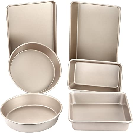 CHEFMADE Baking Pan Set, 6Pcs Non-Stick Cake Bread and Meat Bakeware, FDA Approved for Oven Baking Champagne Gold