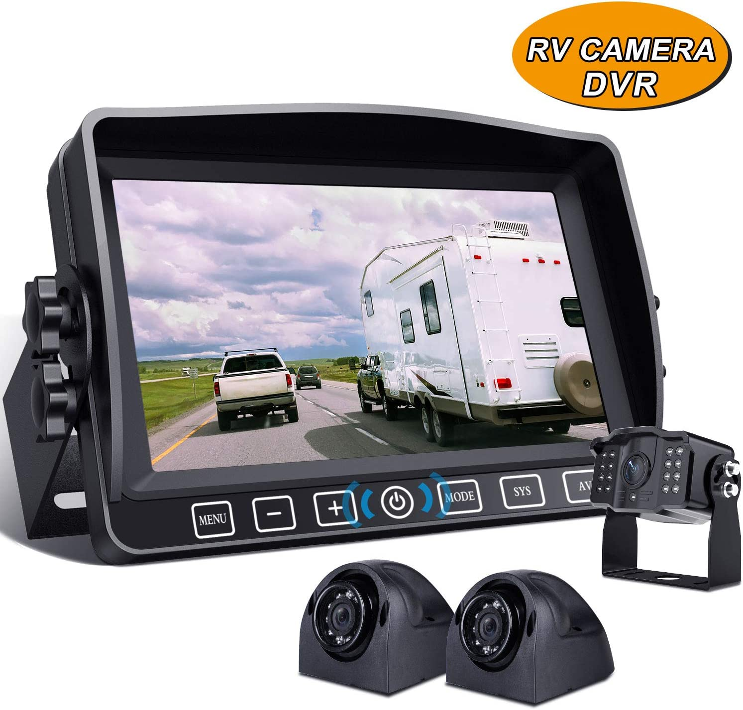 "Backup Camera with 7"" Touch Button Monitor Built-in Upgraded Recorder for RV Semi Box Truck Trailer 4 Quad Screen 1080P HD Waterproof IR Rear & Side View Backing Up Camera System for Reversing/Driving"