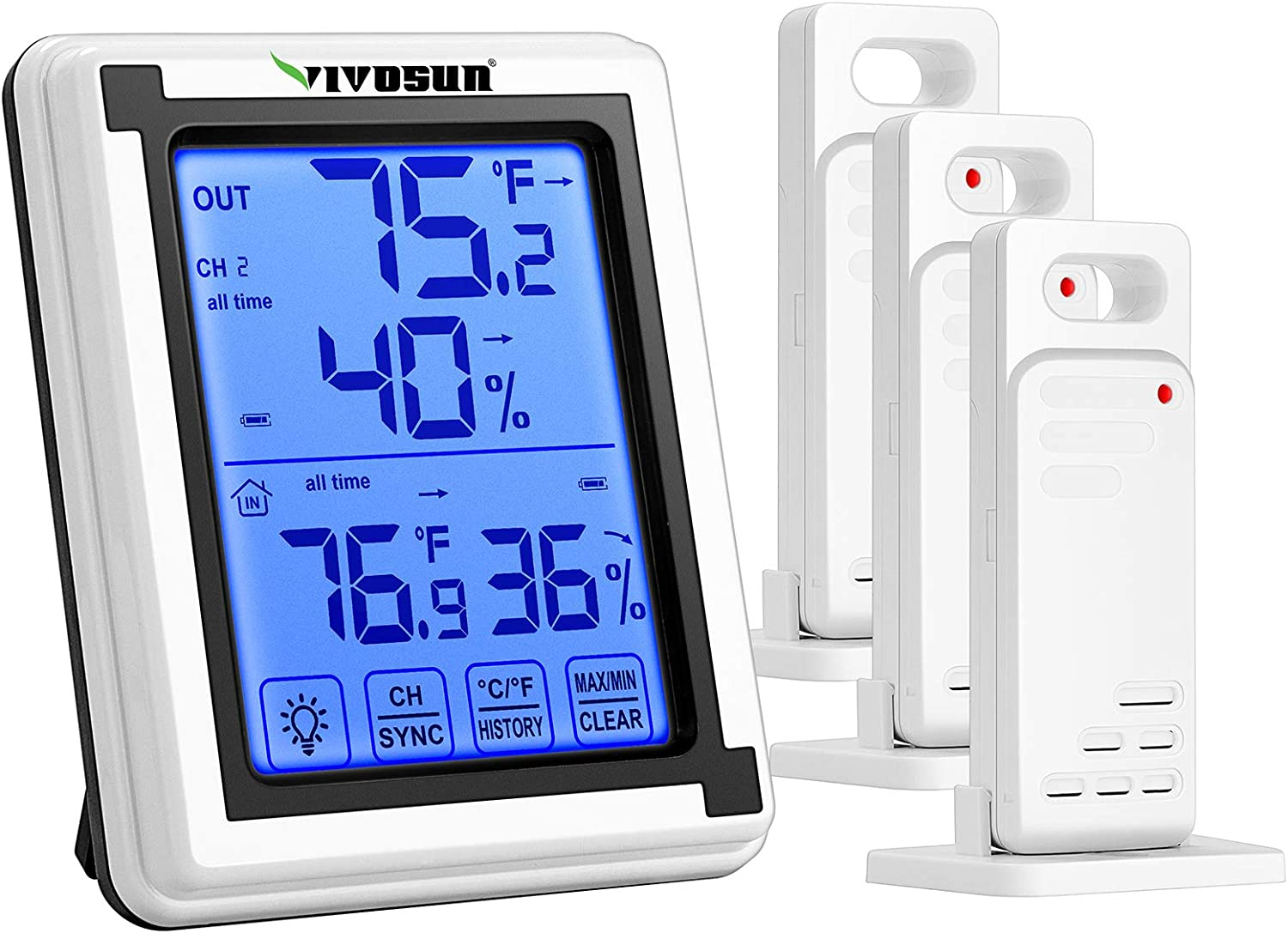 VIVOSUN Wireless Thermometer and Hygrometer with 3 Remote Sensors, Digital Hygrometer Indoor Outdoor Thermometer Humidity Monitor with Touchscreen LCD Backlight
