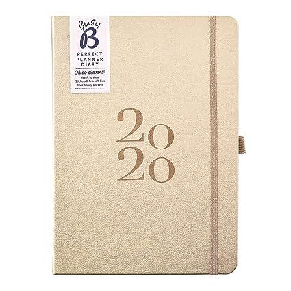 Agenda planificador perfecto 2020 Busy B - planificador A5 en piel sintética dorada, con pegatinas y listas para arrancar