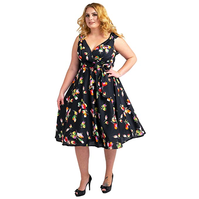 Women\'s Dress 40s 50s Swing Style Vintage Rockabilly Ladies Retro Prom  Party Plus Size Dresses Navy