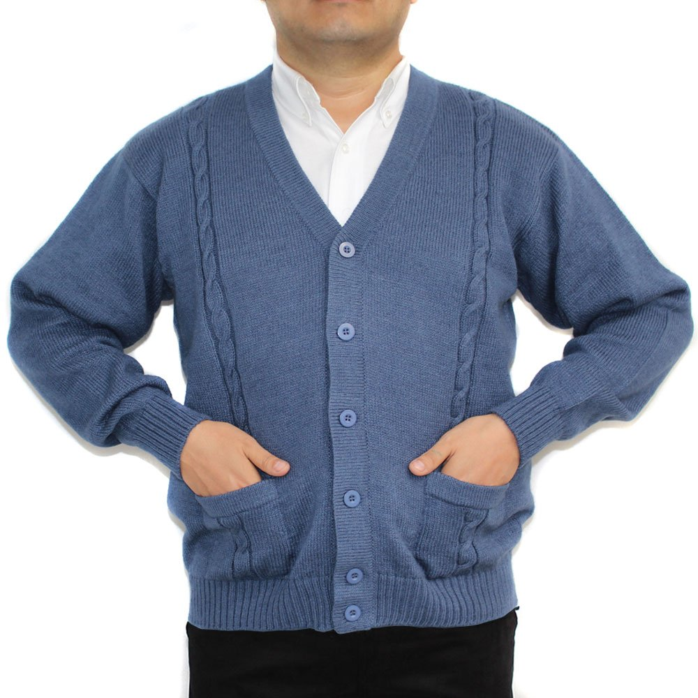 CELITAS DESIGN Alpaca Cardigan Golf Sweater Jersey BRIAD V Neck Buttons and Pockets Made in Peru Steel XXXL