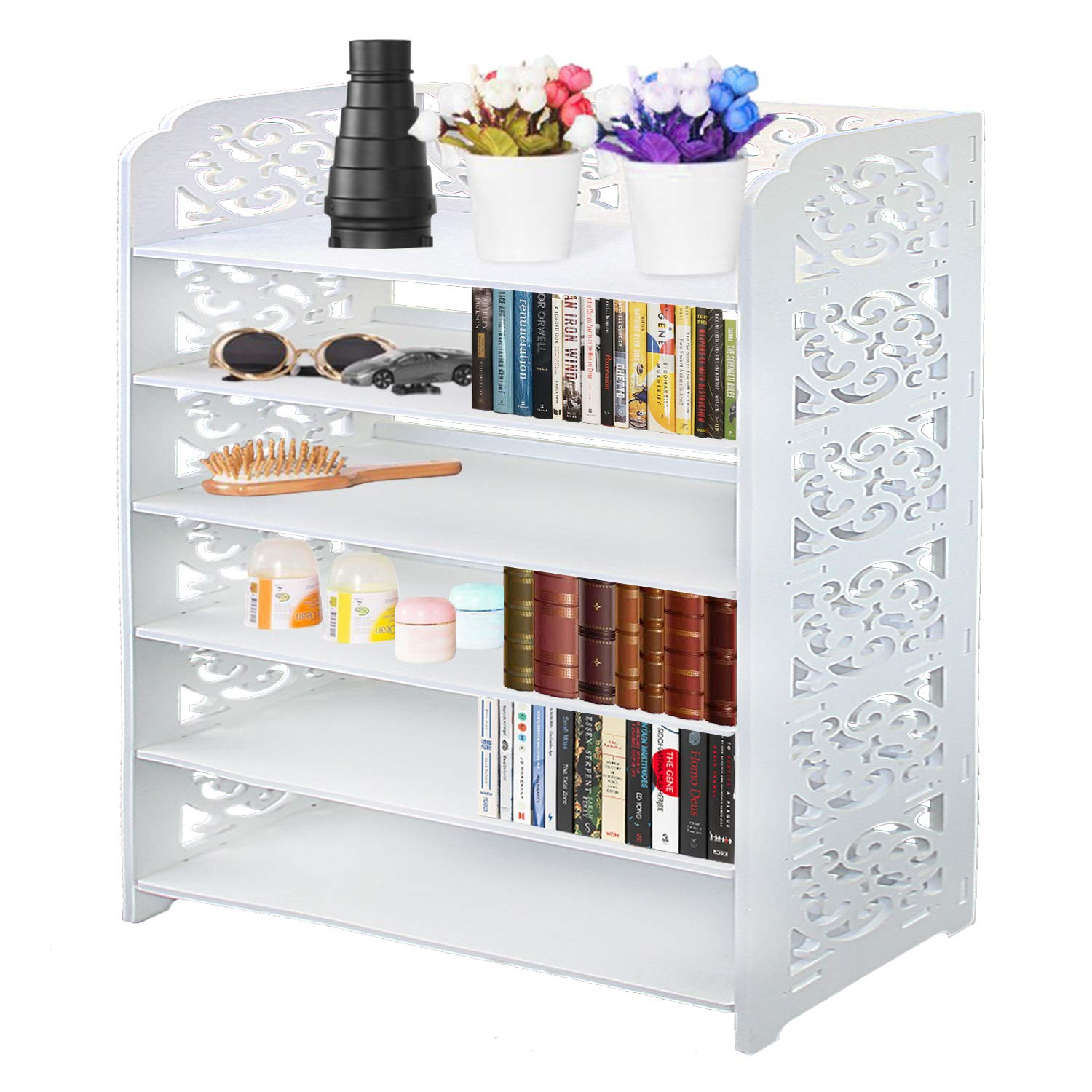 DL furniture - WPC Multipurpose Shoe Rack & Book Shelf L23.5'' x W9.5'' x H38'' 6 Tier Tall & Wide, Environmental Friendly Material | White… by DL furniture (Image #1)