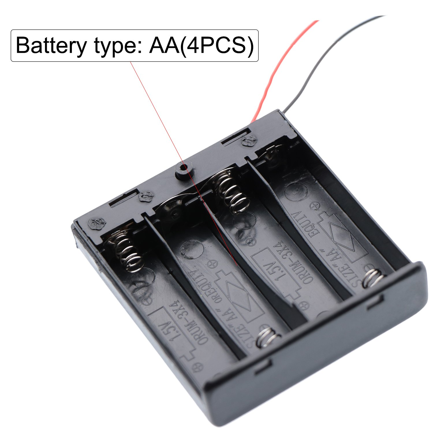 6pcs 4AA Waykino 6PCS 4 X 1.5V AA Battery Case Holder Storage Plastic Box Battery Spring Clip Black Red Wire Leads ON//OFF Switch with Cover