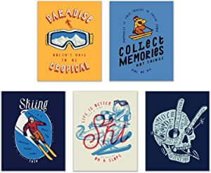 Skiing Wall Art Decor Prints - Set of 4 (8x10) Inch Poster Photos - Gift Idea - Kids Bedroom