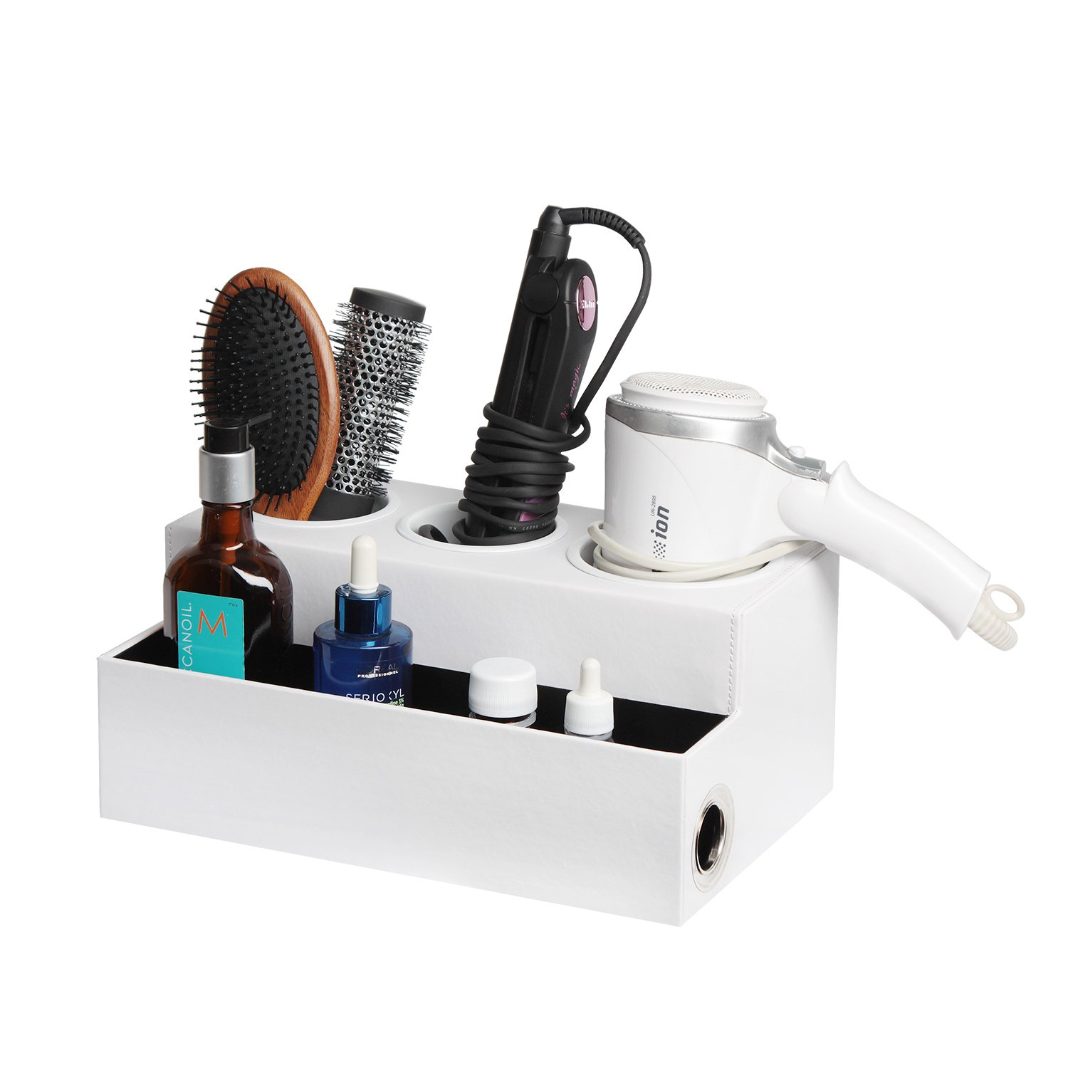 JackCubeDesign Hair Dryer Holder Hair Styling Product Care Tool Organiser Bath Supplies Accessories Tray Stand Storage Bathroom Vanity Countertop with 3 Holes (White) – :MK154D