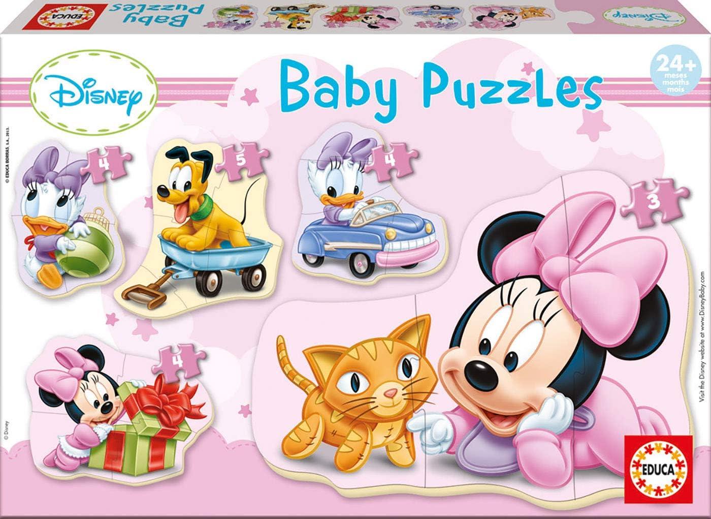 Educa - Baby Puzzles, puzzle infantil Baby Minnie, 5 puzzles progresivos de 3 a 5 piezas, a partir de 24 meses (15612)