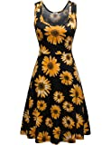 Herou Women Sleeveless Beach Casual Flared Floral Tank Dress