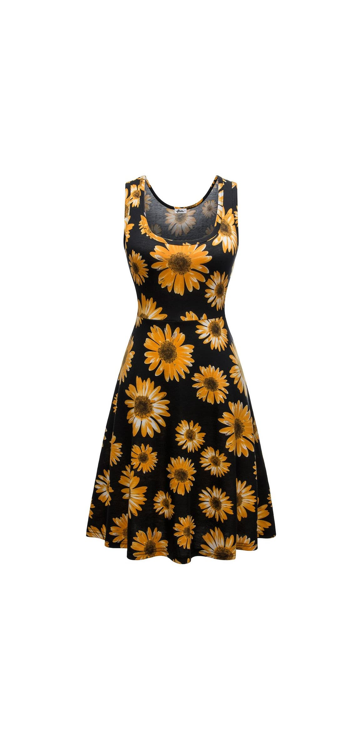 Women Summer Casual Sleeveless Cotton A-line Sun Dresses