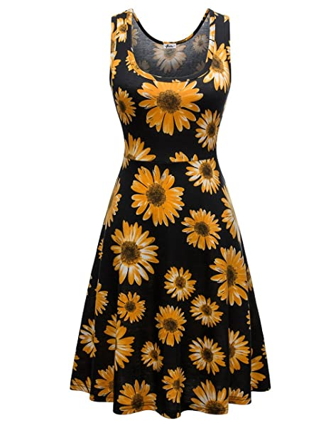 f14da40554 Amazon.com: Herou Summer Spring Sleeveless Casual Flared Floral ...