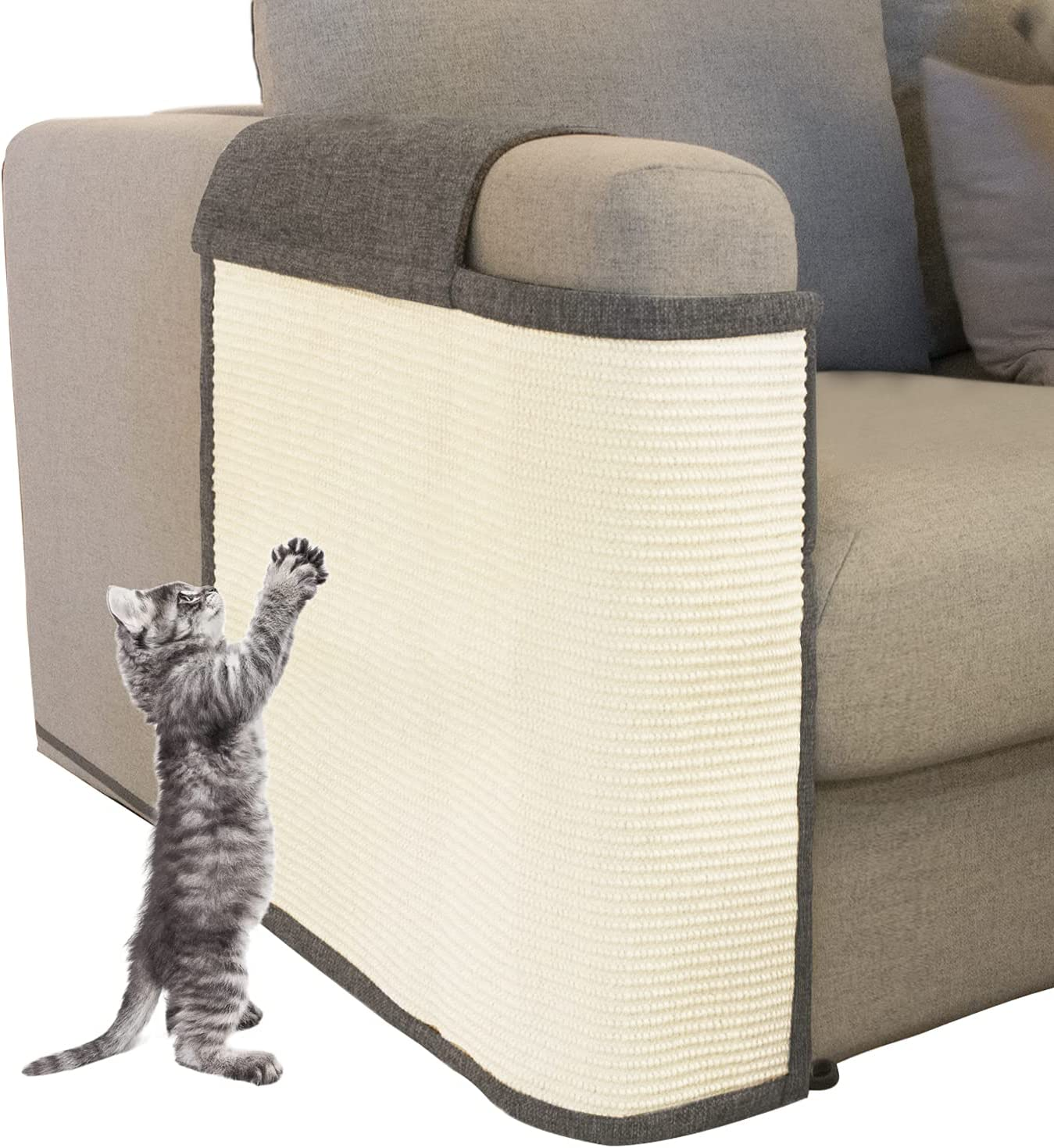 Oroonoko Cat Scratch Furniture Protector with Natural Sisal for Protecting Couch Sofa Chair Furniture