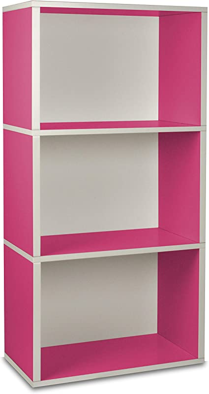 Way Basics Tribeca - Estantería para Libros con 3 Compartimentos (divisores Ajustables, Vetas de Madera Negra, Pizarra de Reciclaje, tamaño único)