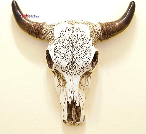 BestGiftEver Resin Wall Sculptures Tooled Bull Skull