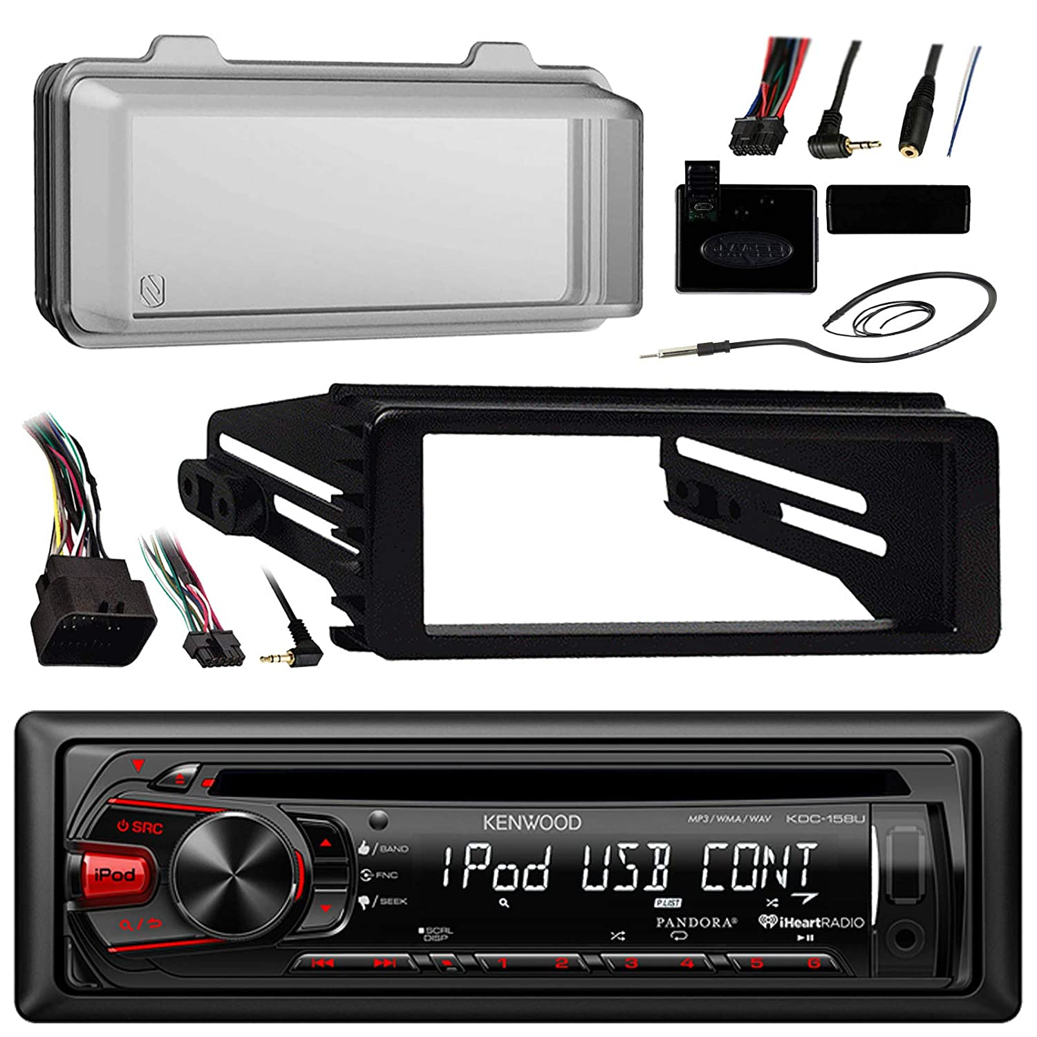 96 2013 Harley Touring Stereo Radio Install Adapter Dash Kenwood Cd Wiring Diagram 1996 Kit Flht Flhx Flhtc Usb Aux W Thumb Control Interface Included