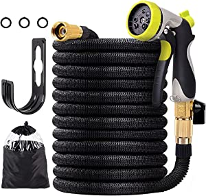 ZNCMRR 100 FT Lightweight Expandable Garden Hose, Retractable Water Hose Non-Kink Flexible Hose with 3/4'' Solid Brass Fittings and 8 Function Heavy Duty Spray Nozzle
