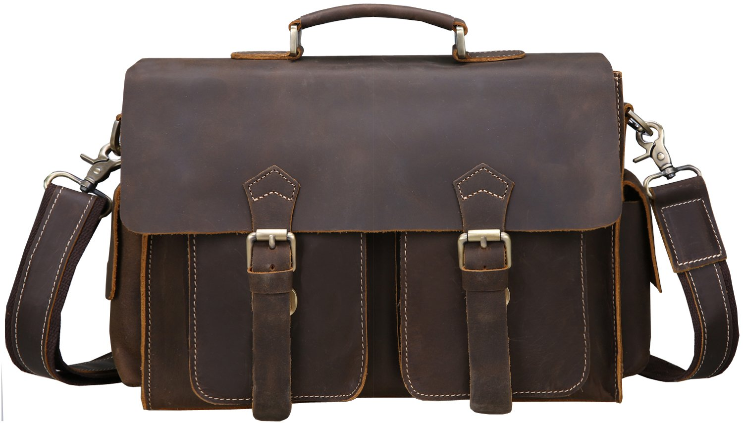 Iswee Vintage Leather Messenger Bag 13.3'' Laptop Briefcase Shoulder Bag for Men by Iswee (Image #2)