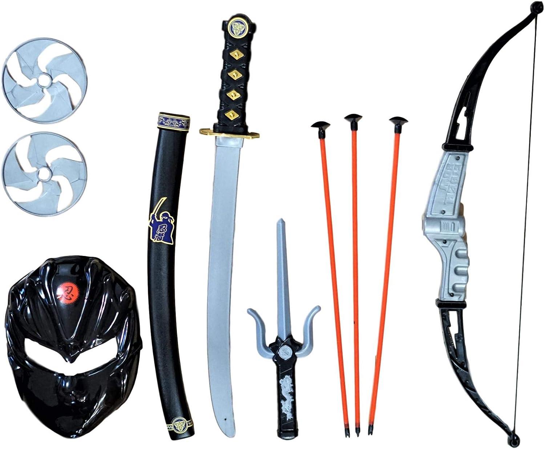 SENSORY4U Toy Ninja Accessories Kit 10 Piece Set Includes: Ninja Sword and Sheath, Plastic Ninja Knife, Throwing Stars and Ninja Bow and Arrow Set for Kids