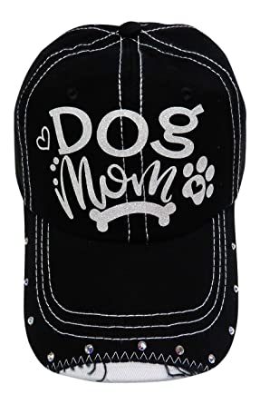 aae09bc2a1f Image Unavailable. Image not available for. Color  White Glitter Dog Mom  Black Baseball Cap Animal Dog Cat Pet
