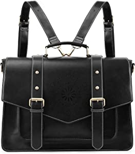 ECOSUSI Backpack for Women Briefcase Messenger Laptop Bag Vegan Leather Satchel Work Bags Fits 15.6 inch Laptops, Black