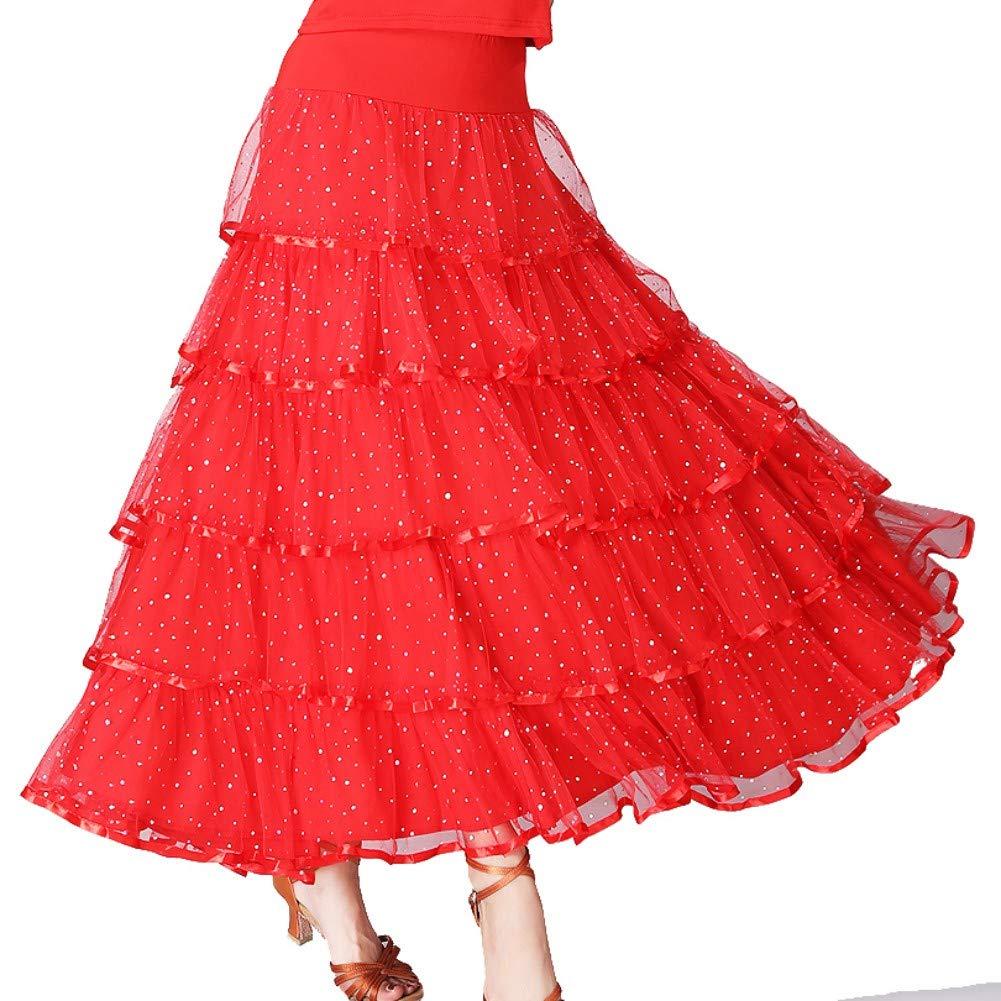 Hongyuangl Belly Dance Costume Elegant Sequin Ballroom Waltz Dancing Latin Dance Party Swing Tiered Skirt for Women