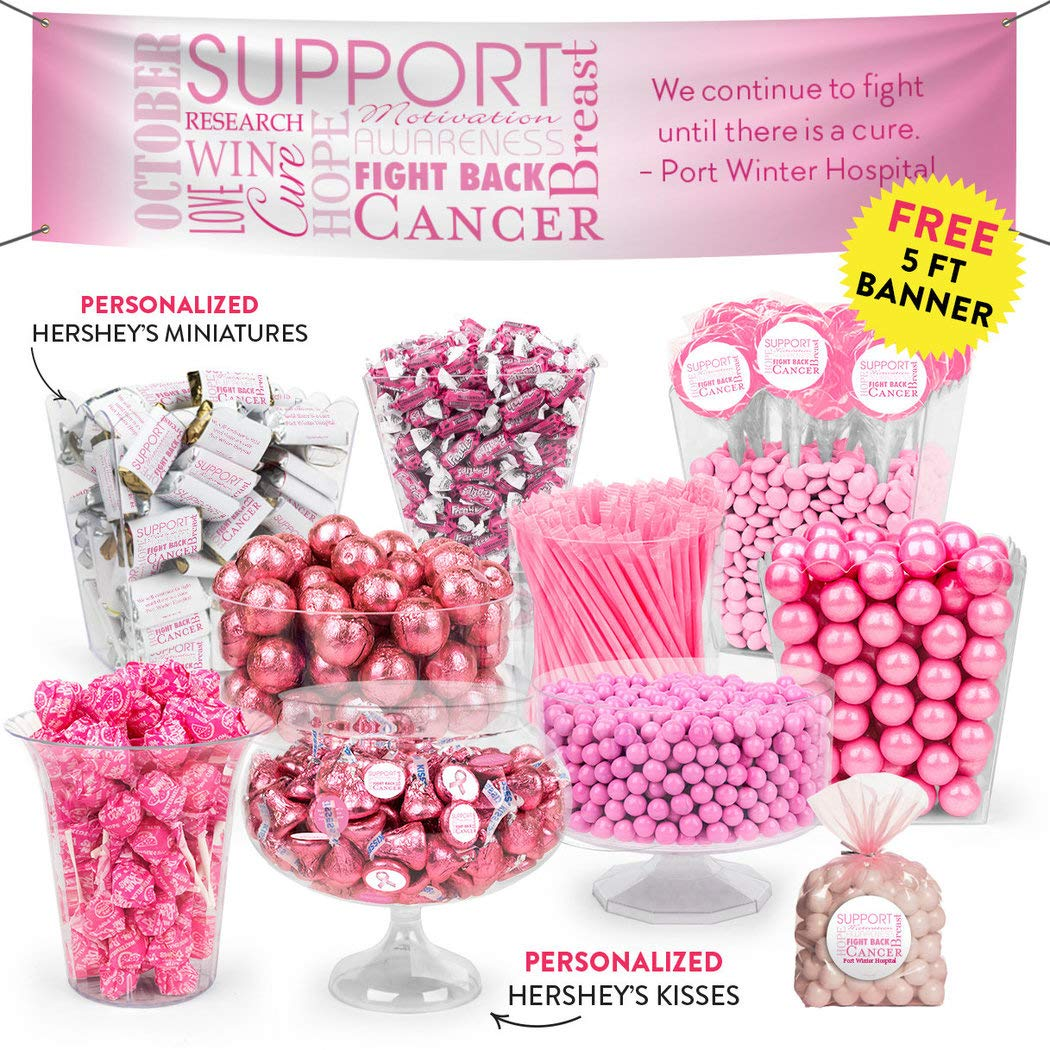 Amazon.com : Breast Cancer Awareness Pink Candy Buffet (approx 14lbs) -  Includes Hershey's Kisses & Miniatures, Lollipops, Frooties, Gumballs and  More ...