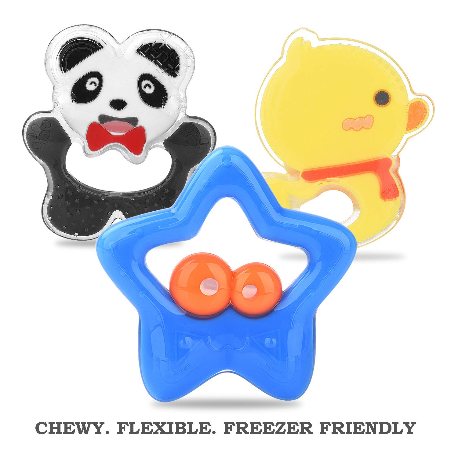 BPA Free Teething Toys for Infant Dishwasher and Freezer Safe Teether Set for Baby Easy to Grab and Clean Pack of 3 Colorful Design Giftty Baby Teether