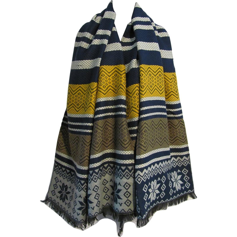 Unisex Ethnic Striped Soft Wool Blend Scarf Shawl Cape Wrap Blanket