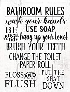 product image for Rustic Pallet Art Bathroom Rules- Amish Made in The USA
