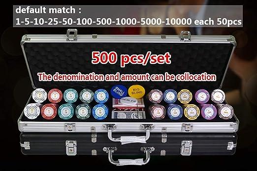 TX GIRLa Ficha De Póker con Caja De Aluminio Casino Texas Holdem Arcilla Dólar Fichas De Póquer con El Ajuste De La Etiqueta Engomada 100,200,300,400,500PCS / Set (Color : 100pcs Silver): Amazon.es: