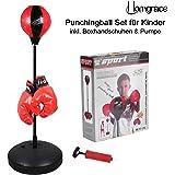 Homgrace Punchingball Boxen Set mit Boxhandschuhen für Kinder Jugend, Höhenverstellbar von 70 bis 105 cm, Bestes Geschenk für Kinder