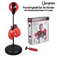 Homgrace Punchingball Boxen Set mit Boxhandschuhen für Kinder Jugend, Höhenverstellbar von 70 bis 105 cm, Kinder