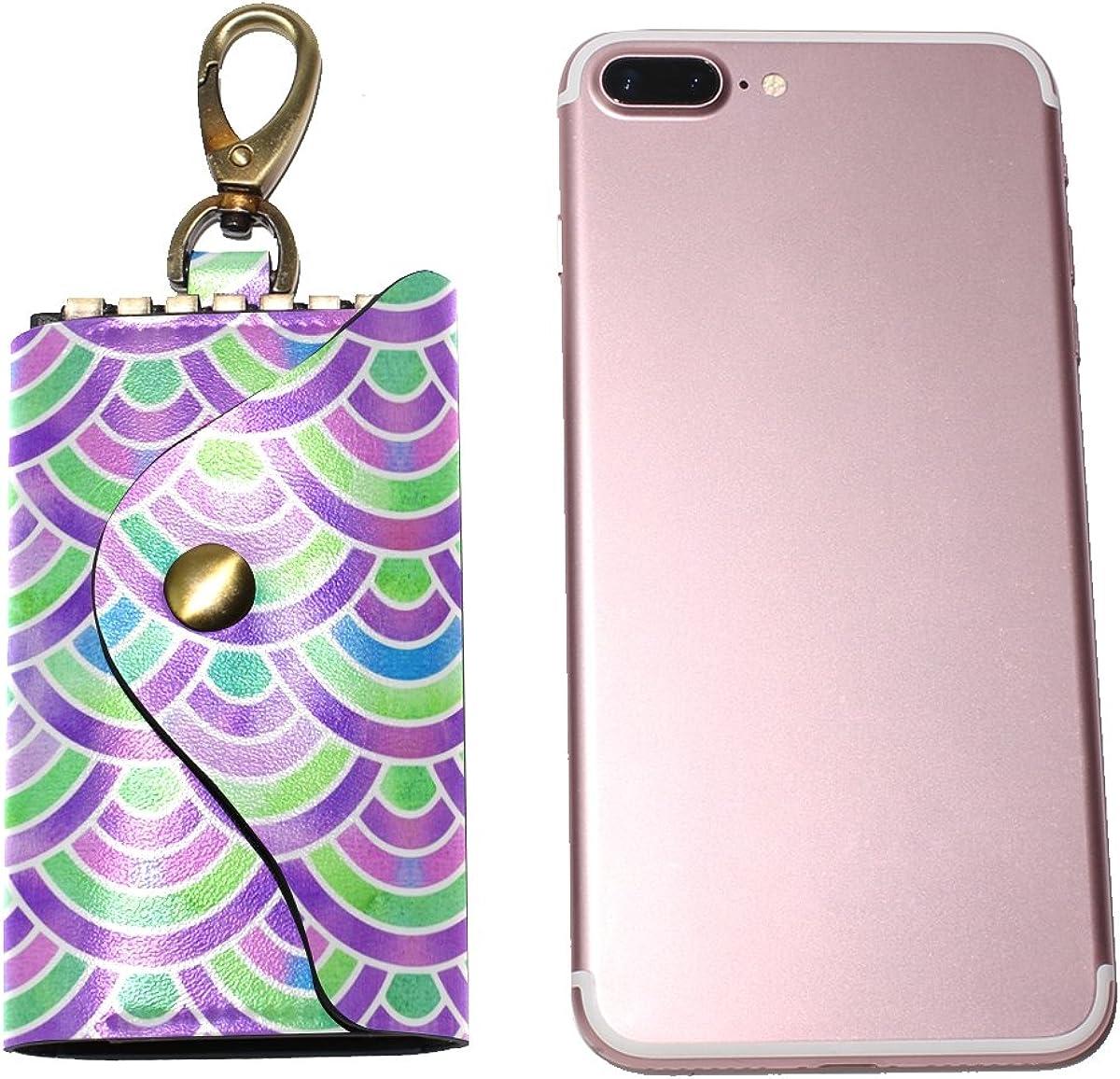 DEYYA Mermaid Scales Leather Key Case Wallets Unisex Keychain Key Holder with 6 Hooks Snap Closure